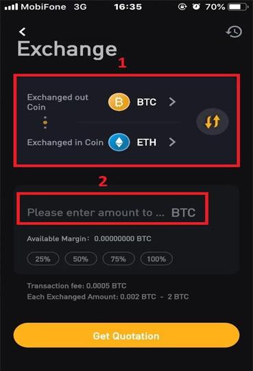 Chọn loại coin bạn muốn Swap rồi điền số lượng Coin
