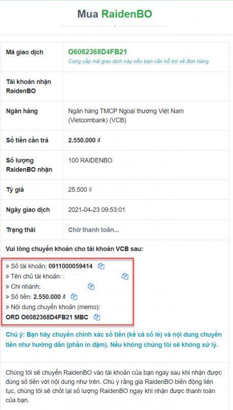 Chuyển khoản chính xác thông tin được sàn Muabancoin cung cấp