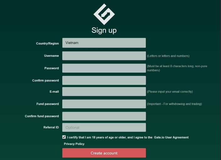 Kích chọn mục đăng ký và điền đầy đủ thông tin cá nhân