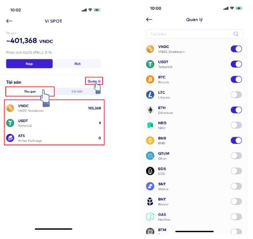 Người dùng có thể lựa chọn các đồng tiền muốn hiển thị trên ví