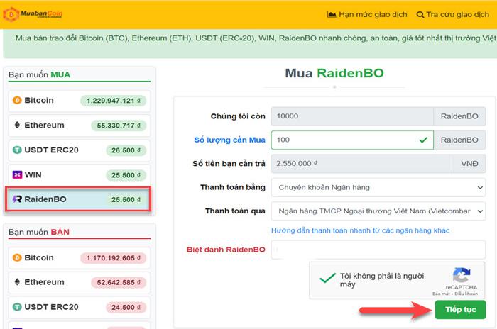 Mua USDT sàn RaidenBO bằng Chuyển khoản ngân hàng