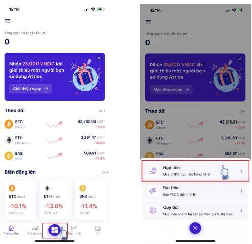 Chọn Nút chính trên màn hình ứng dụng và nhấn chọn Nạp tiền