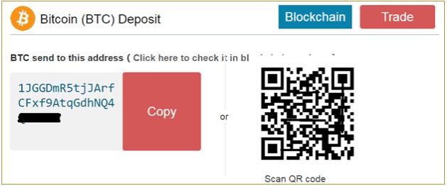 Bạn có thể gửi Bitcoin đến địa chỉ Deposit của mình