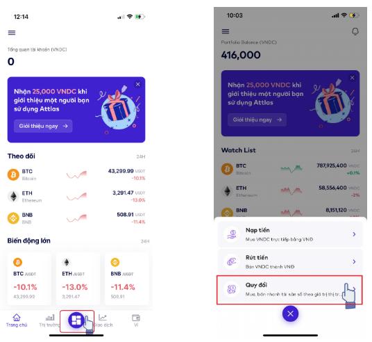 Cách 1: Tại màn hình chính của ứng dụng, chọn Nút chính rồi nhấn Quy đổi