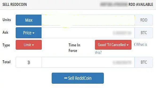 Nhập xong thông tin thì kích chọn vào Sell Reddcoin màu xanh