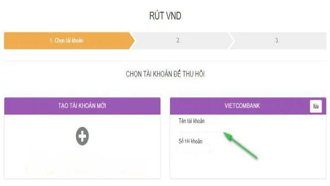 Chọn tài khoản Vietcombank để rút