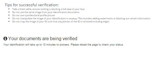 Bạn chờ khoảng 10 phút để sàn giao dịch Bittrex xử lý tài liệu của bạn