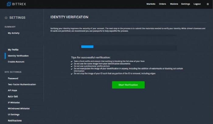 Chuyển sang tab Idertity Verification và kích chọn Start Verification