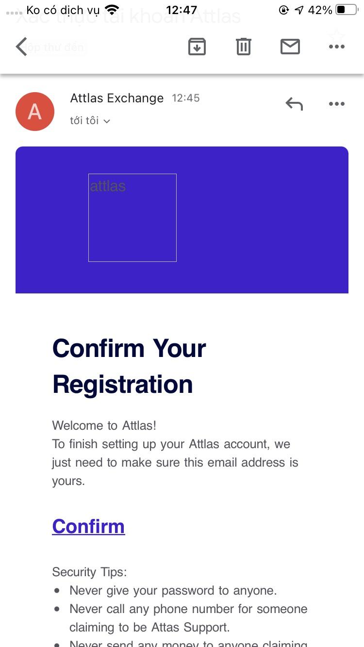 Bạn kích chọn vào mục Confirm để xác nhận Email đăng ký