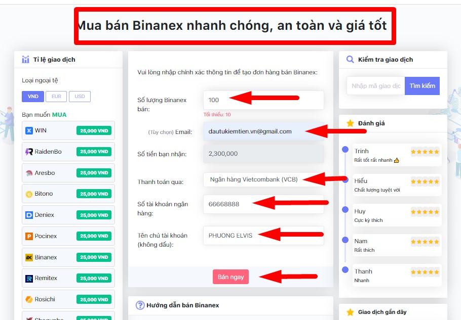 BÁN BINANEX-DONOIBO.COM
