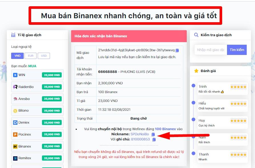 BÁN BINANEX-VỚI DONOIBO.COM