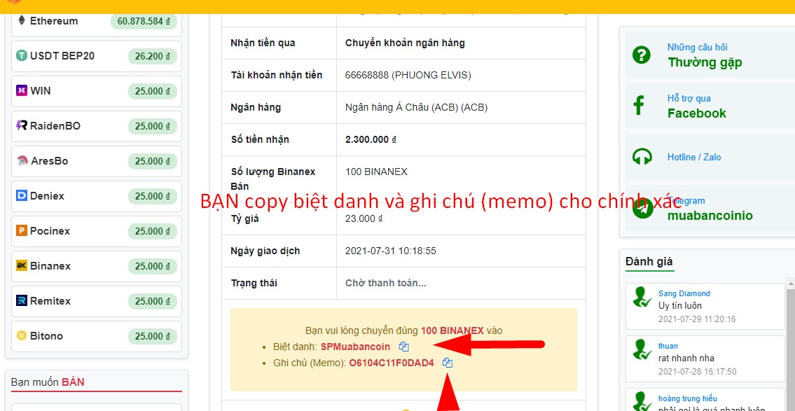 chuyển khoản qua ngân hàng ngân hàng nhà nước mua binanex