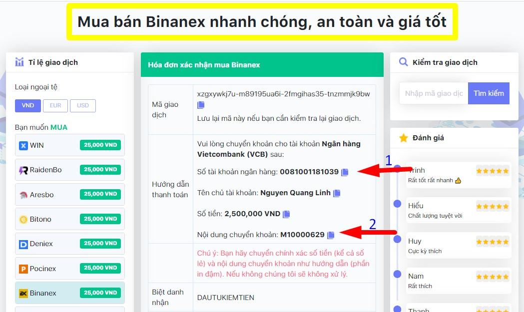 chuyển khoản qua ngân hàng ngân hàng nhà nước mua binanex-donoibo