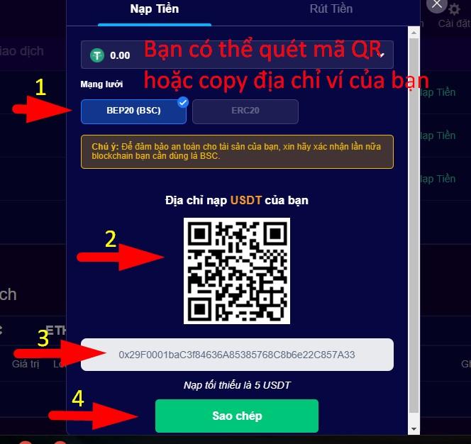 Bạn cần copy chính xác địa chỉ này để chuyển USDT từ ví VNDC