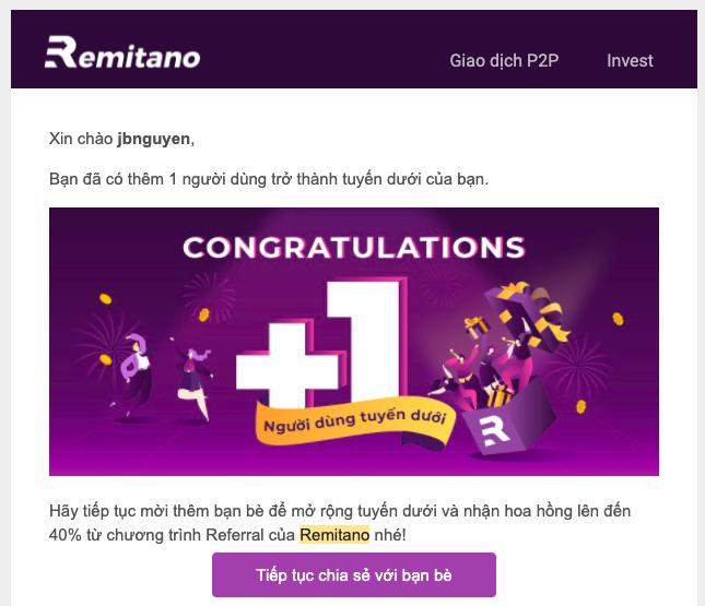 Remitano sẽ gửi email thông báo và chúc mừng