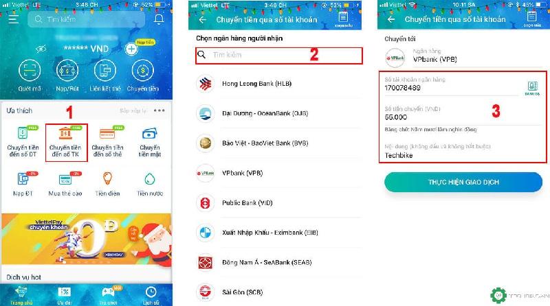 Rút tiền mặt ví app Viettelpay