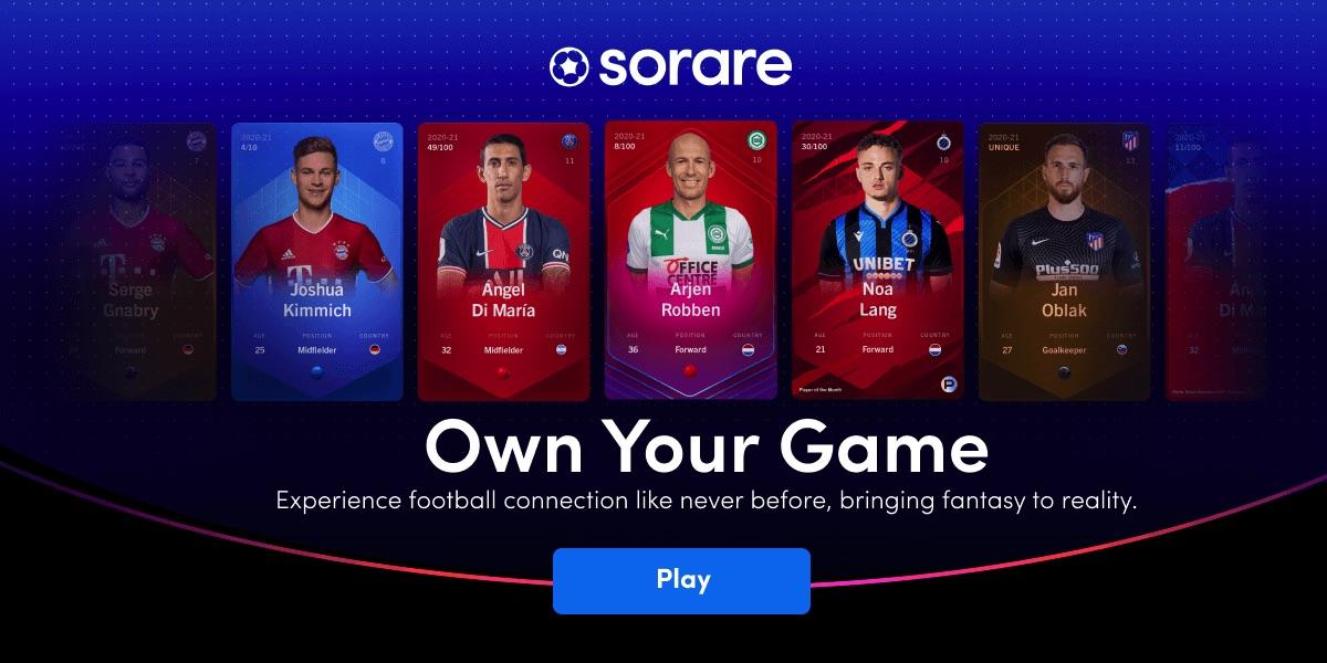 Sorare là một NFT Game dựa trên nền tảng Ethereum với tổng doanh số bán thẻ hàng ngày lên đến 159.000 đô la