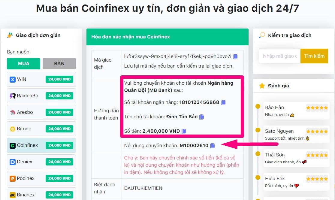 chuyển tiền mua usdt coinfinex